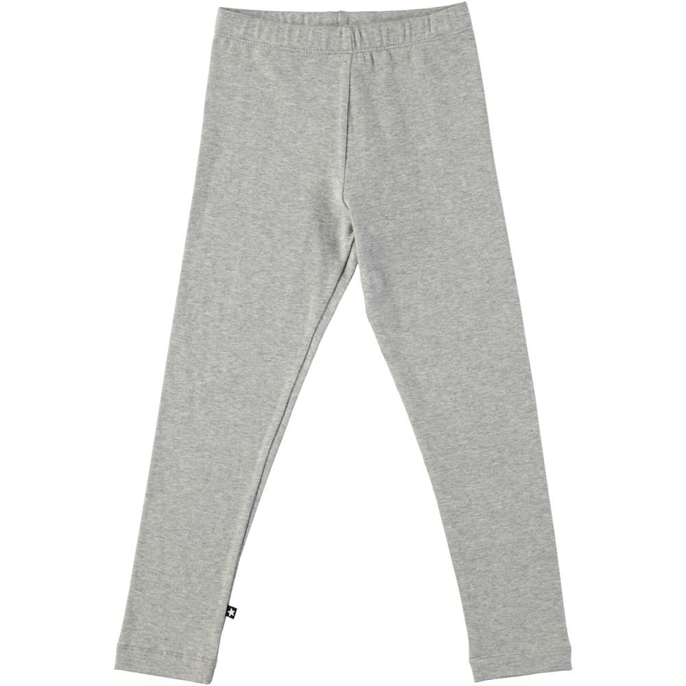 Nica - Grey Melange - Long grey leggings with elastic waist