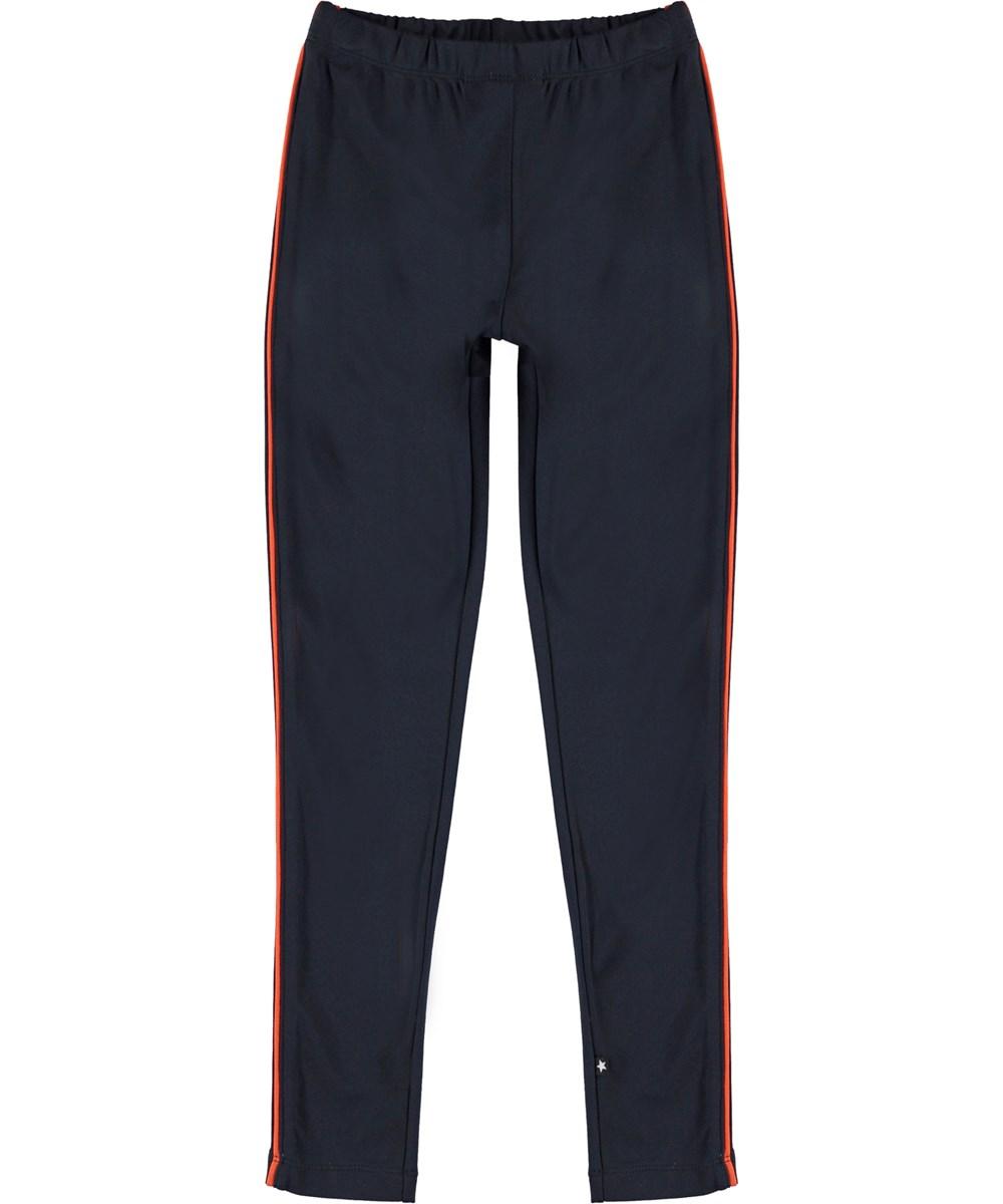 Nicolette - Dark Navy - Dark blue leggings with orange stripe