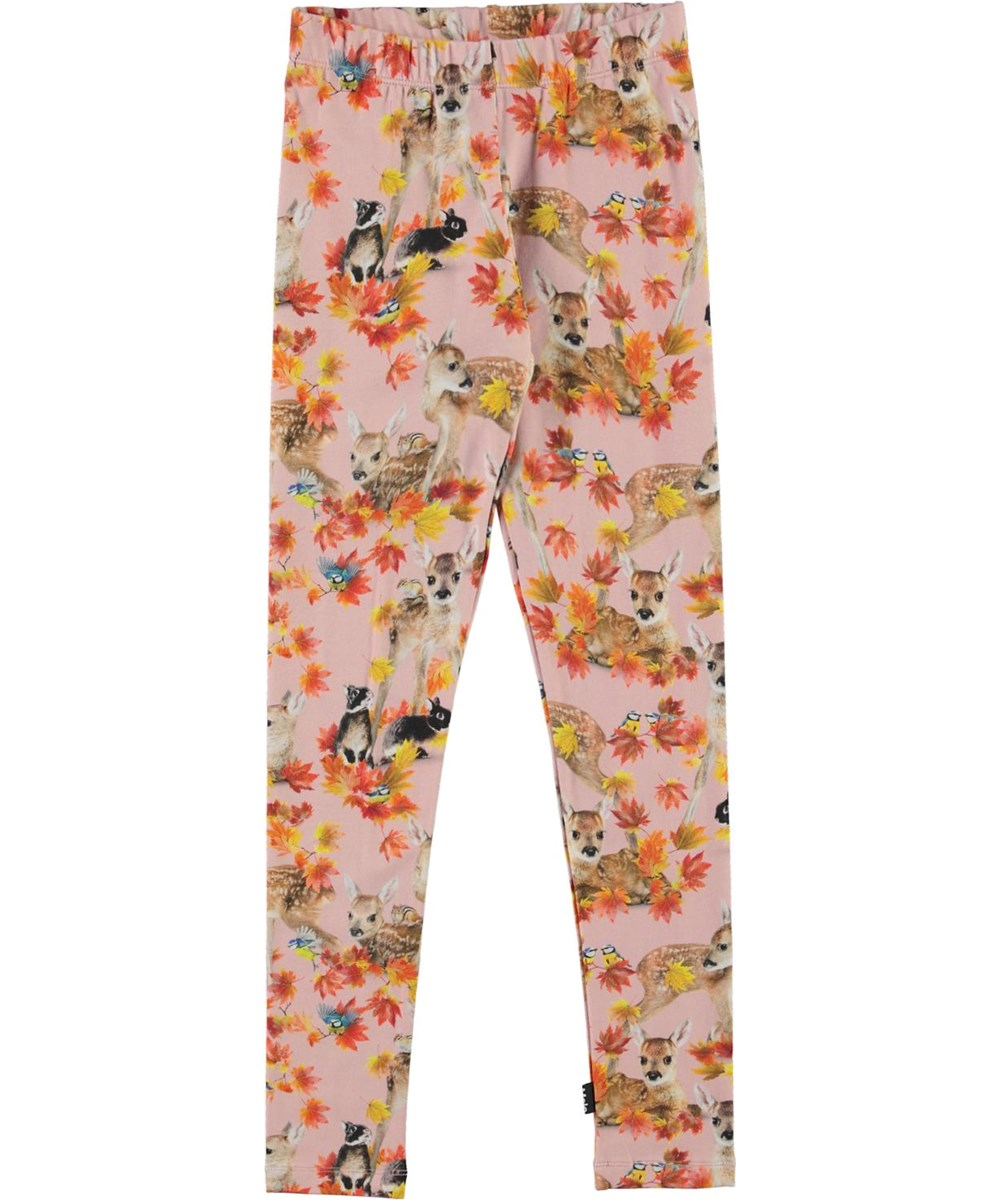 Niki - Autumn Fawns - Pink organic leggings with deer print