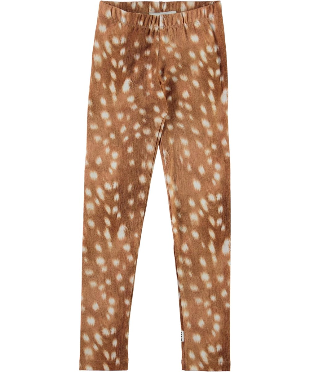 Niki - Baby Fawns - Brown organic leggings with white spots