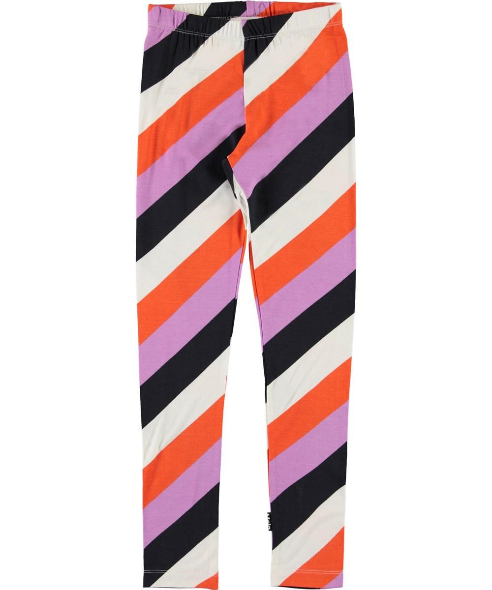Niki - Diagonal Stripe - Organic striped leggings