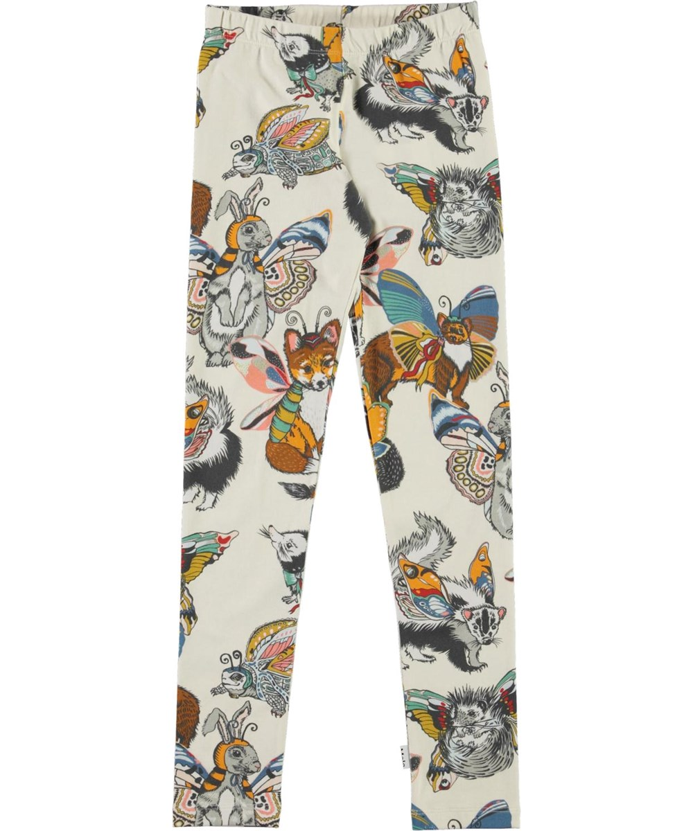 Niki - Hedgerow Buzz - Brown organic leggings with animal print