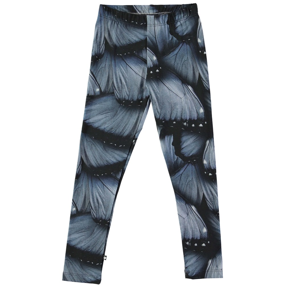 Niki - Velvet Wings Jersey - Long leggings with digital blue wing print