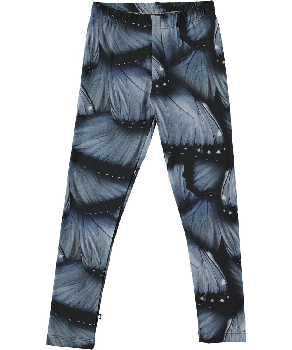 Niki - Velvet Wings Jersey - Long leggings with digital blue wing print