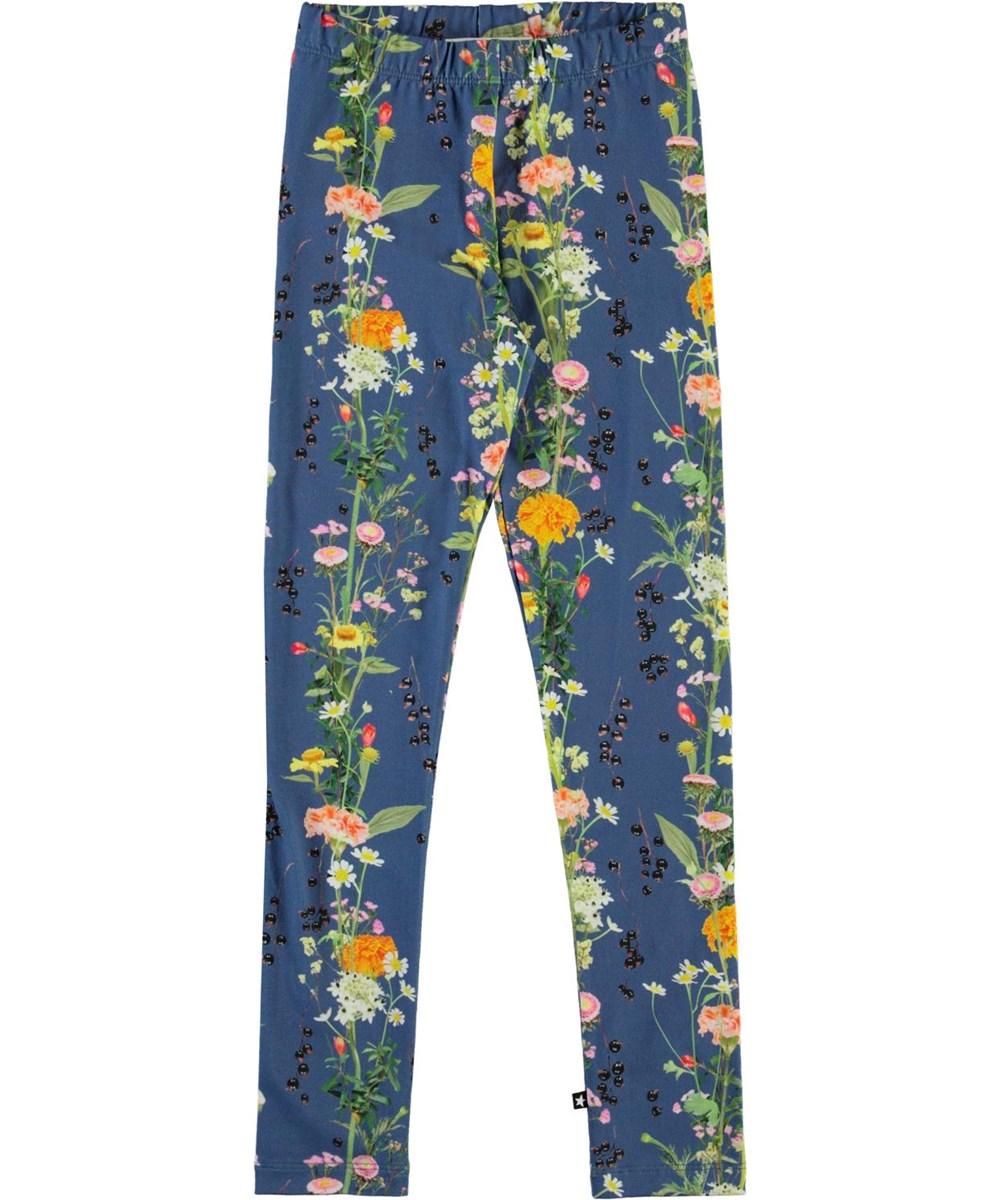 Niki - Vertical Flowers - Blue organic leggings with flowers