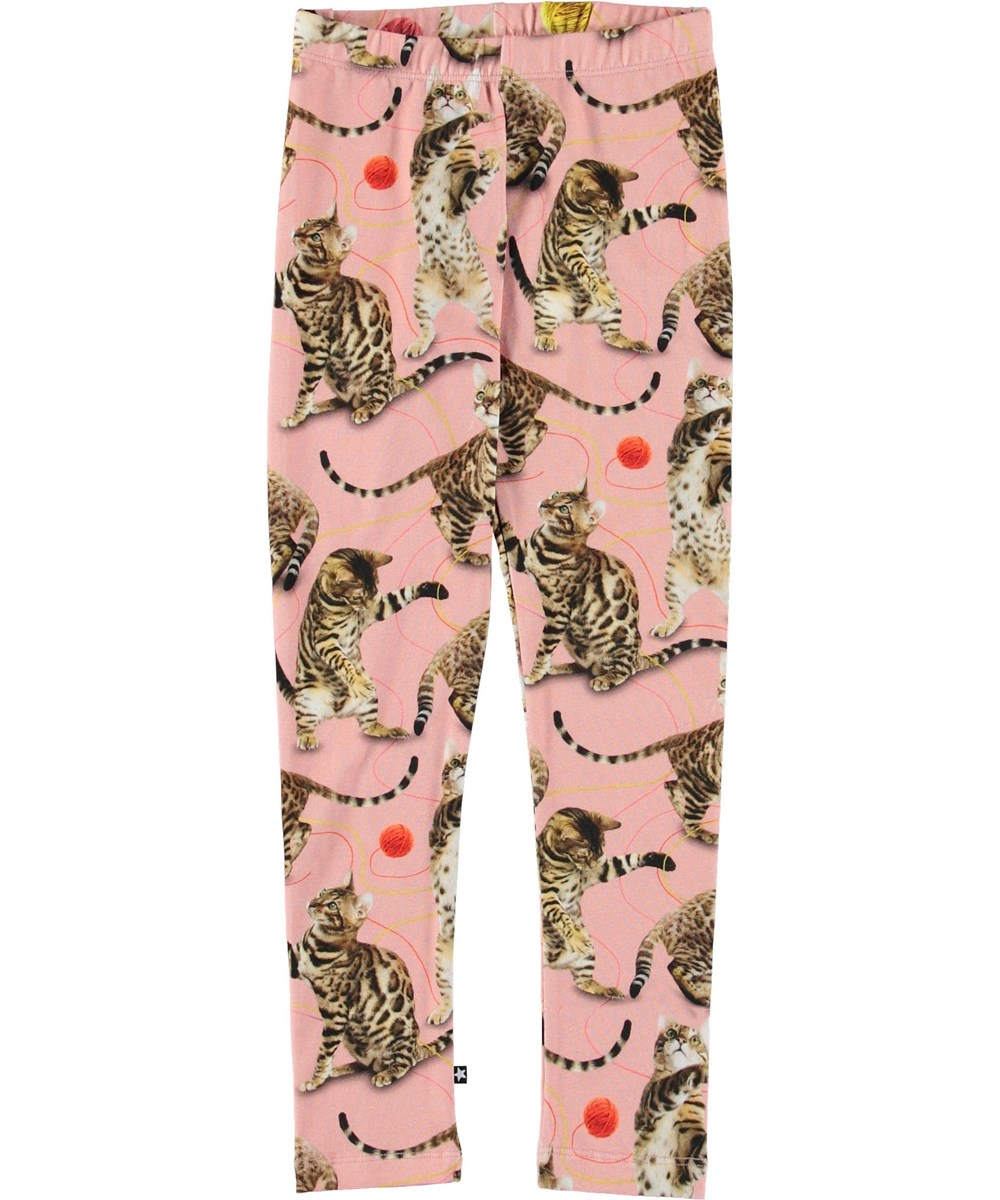 Niki - Wannabe Leopard - Pink leggings with cats.