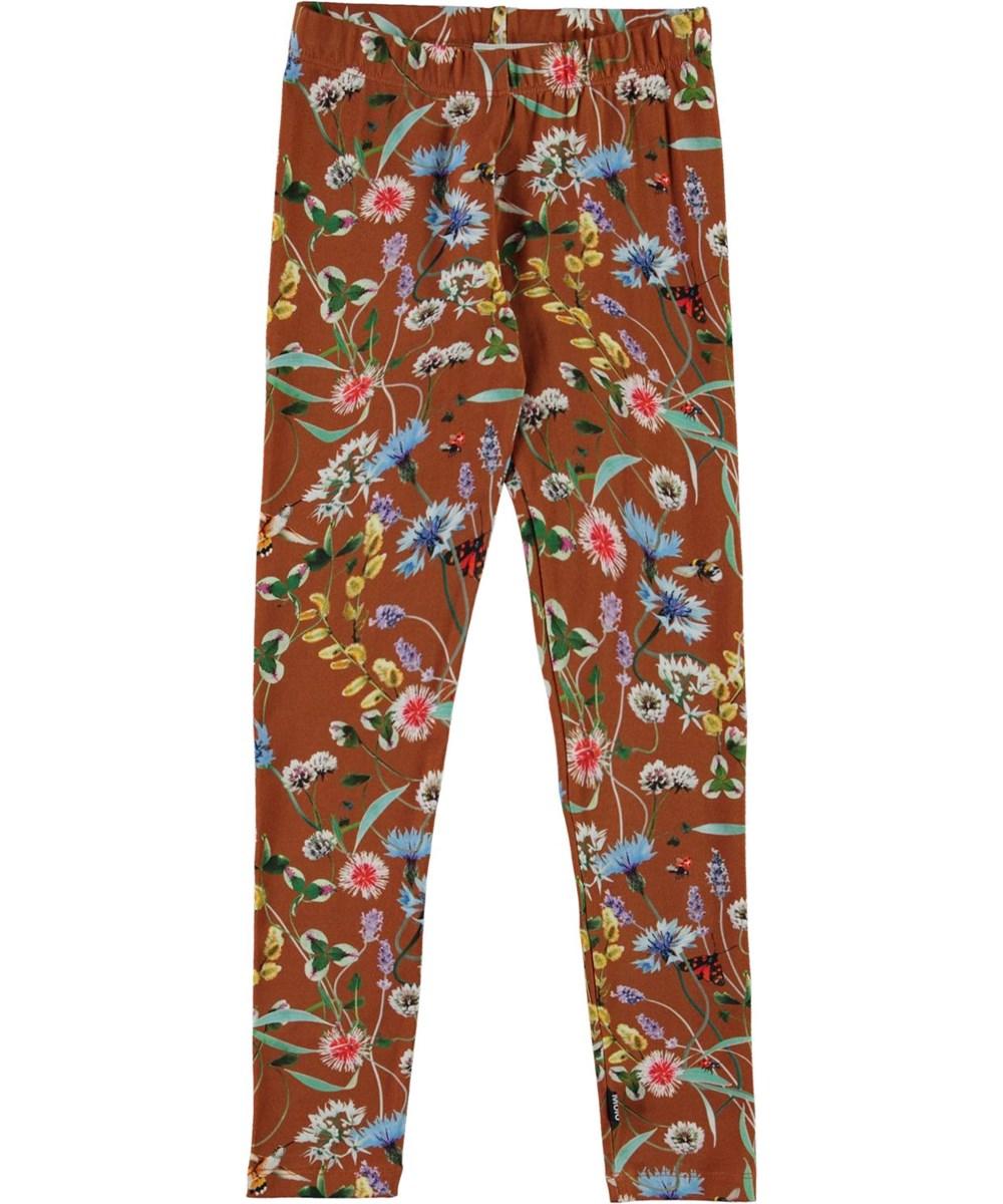 Niki - Wildflowers - Brown organic leggings with flowers