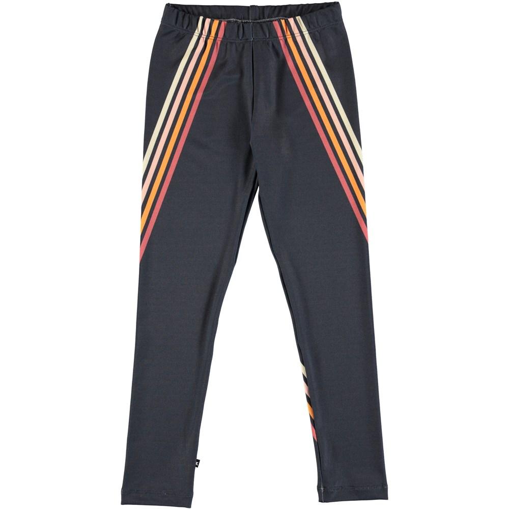 Nikia - 4 Stripes Dark Navy - Long, thick leggings with stripes