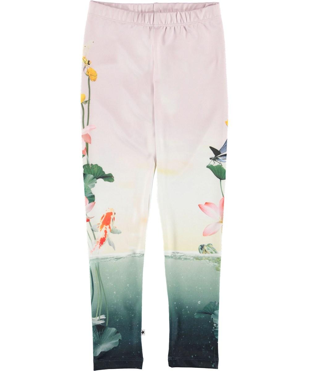 Nikia - Pond Life Legging - Leggings with fish and flowers.