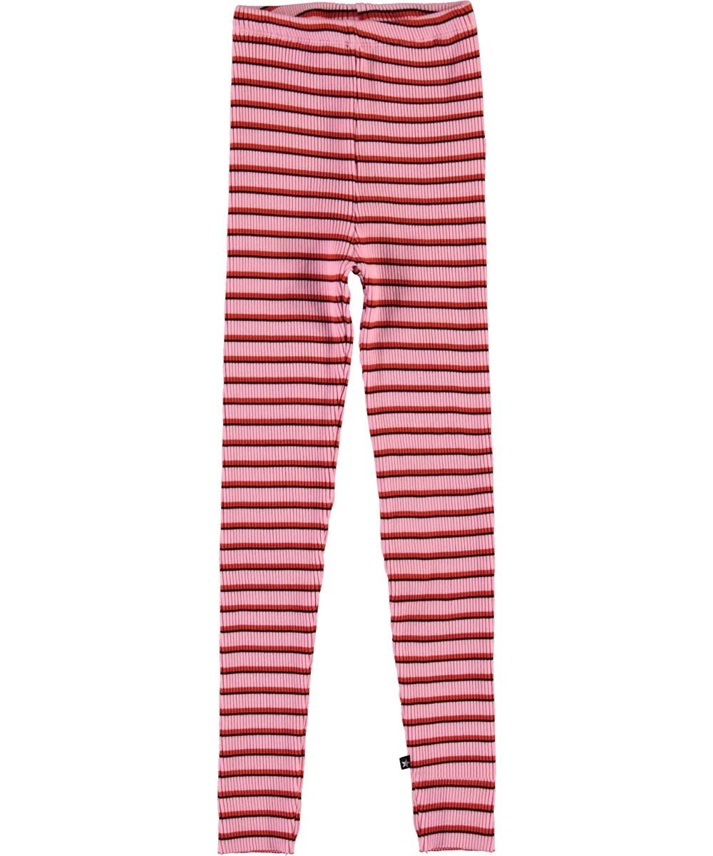 Nikita - Pink Red Stripe - Striped rib leggings