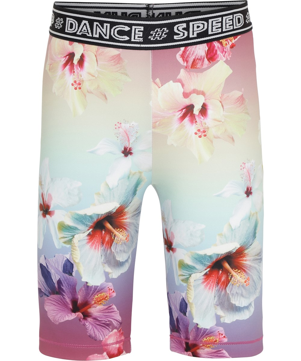 Obelia - Hibiscus Rainbow - Floral sports shorts