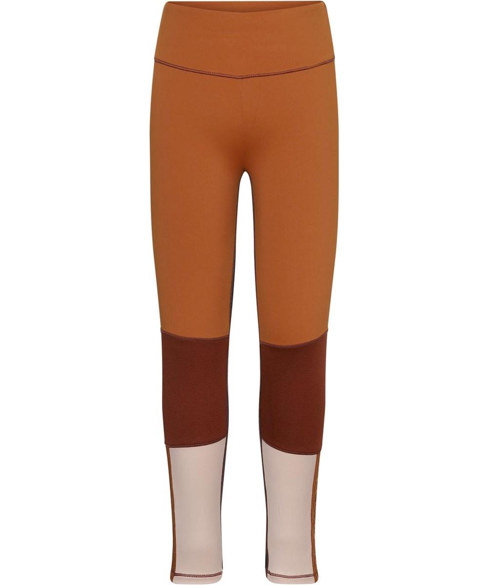 Olympia - Block Autumn - Brown and rose sport leggings