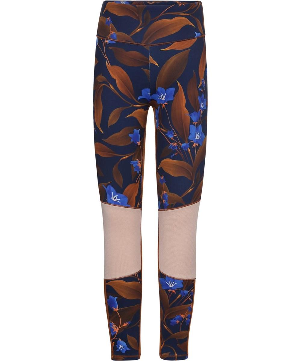 Olympia - Night Bloom_Big - Blue sport leggings with brown flowers