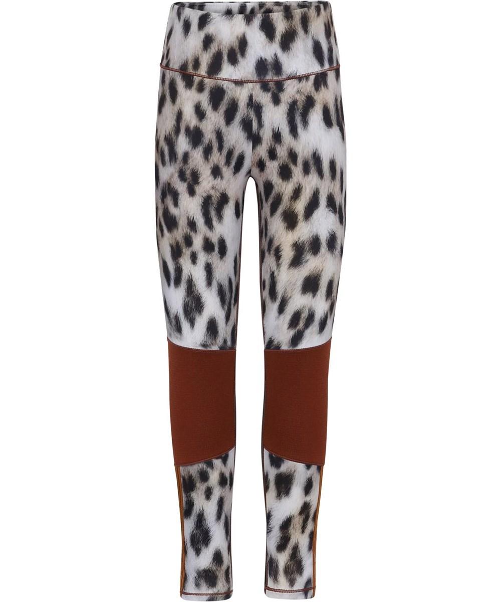 Olympia - Snowy Leo Fur - Sport leggings with snow leopard print