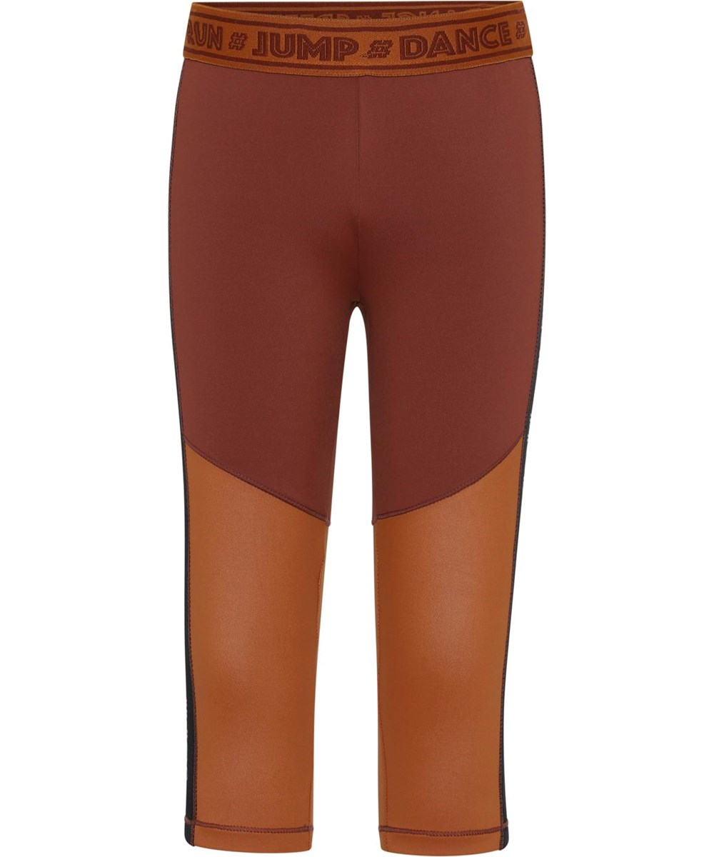 Orlaith - Block Autumn - Sport leggings in brown with text
