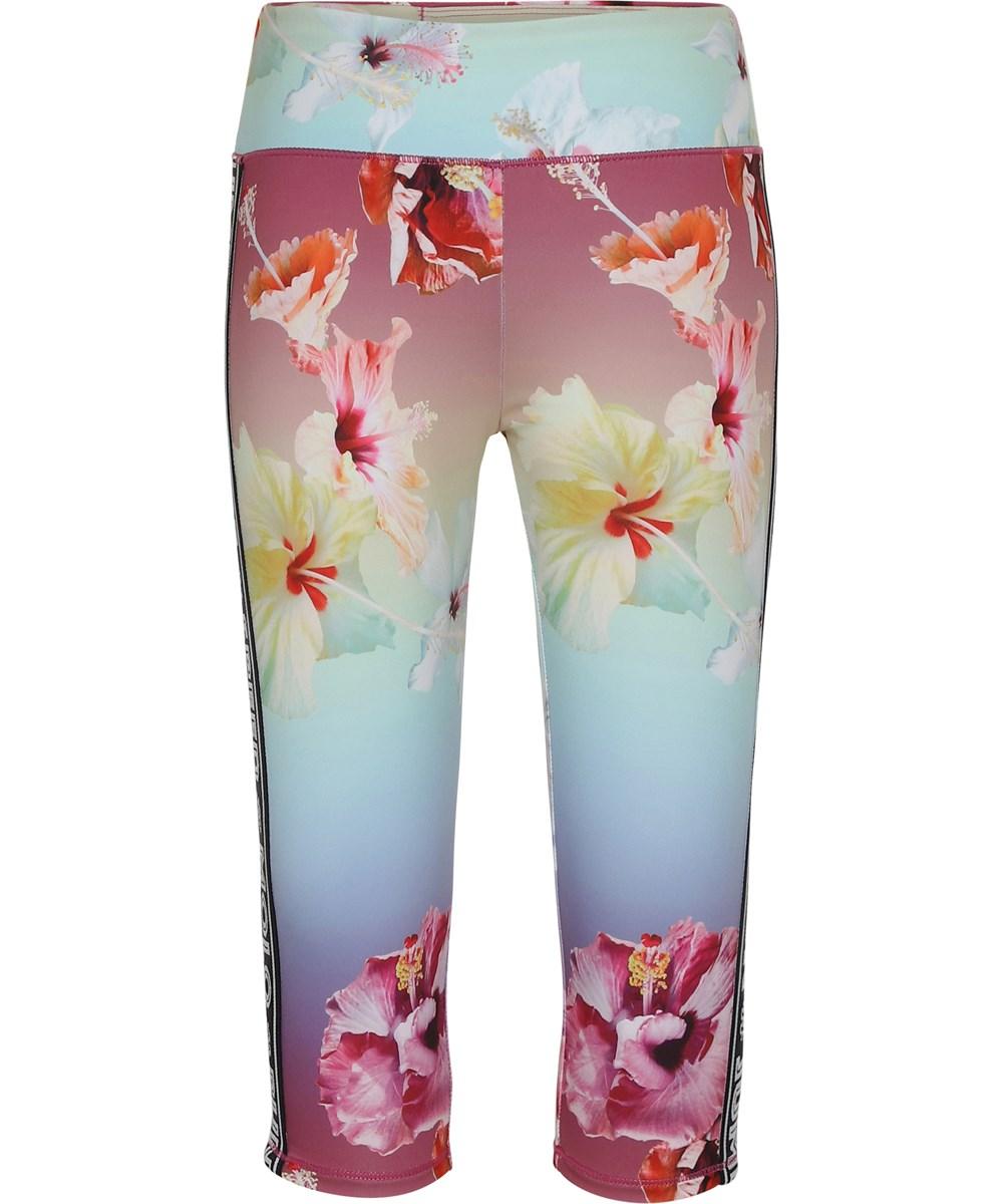 Orlaith - Hibiscus Rainbow - Short, floral sports leggings