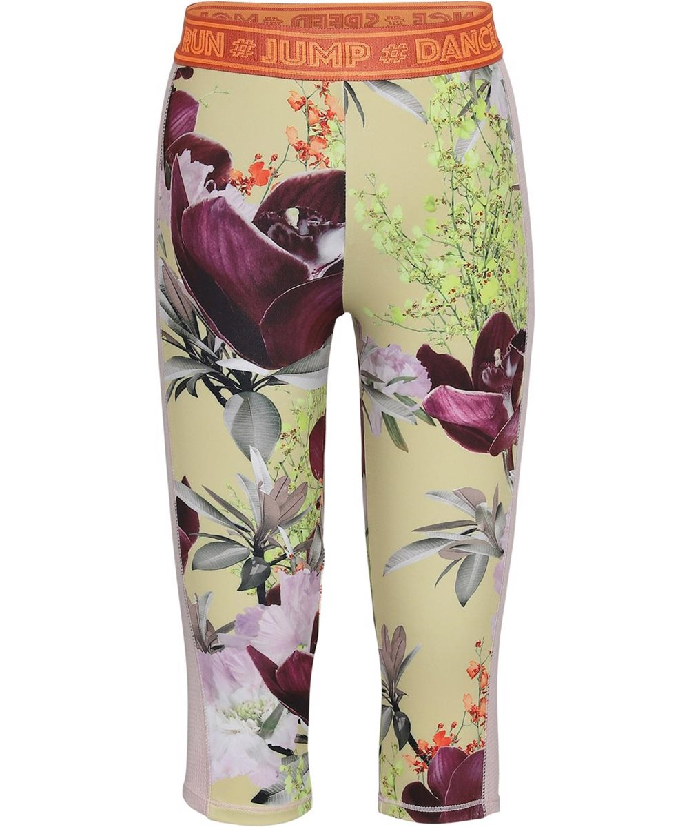 Orlaith - Orchid - Short sports leggings in light yellow with flowers