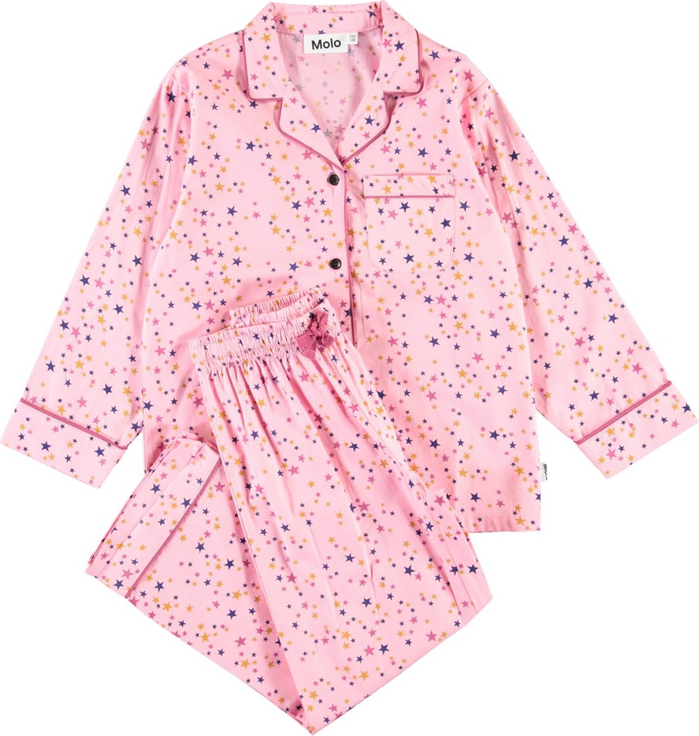 Lex - Starry Sky Pink - Organic nightwear with stars
