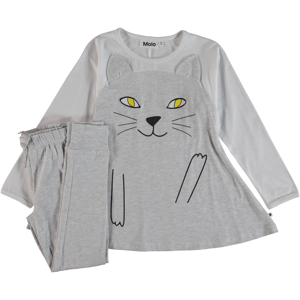 LilCat - Light Grey Melange - Pyjama Set