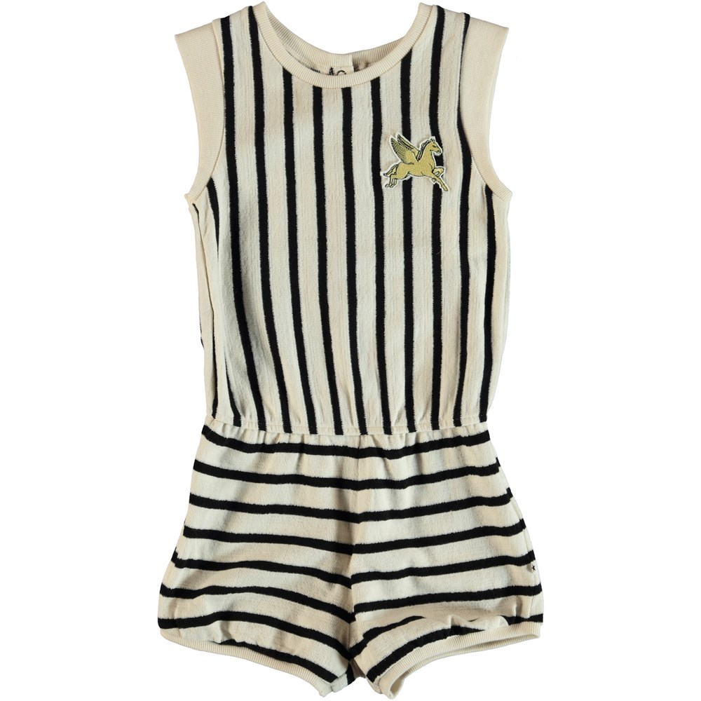 Abigail - Black Cream Stripe - Striped playsuit