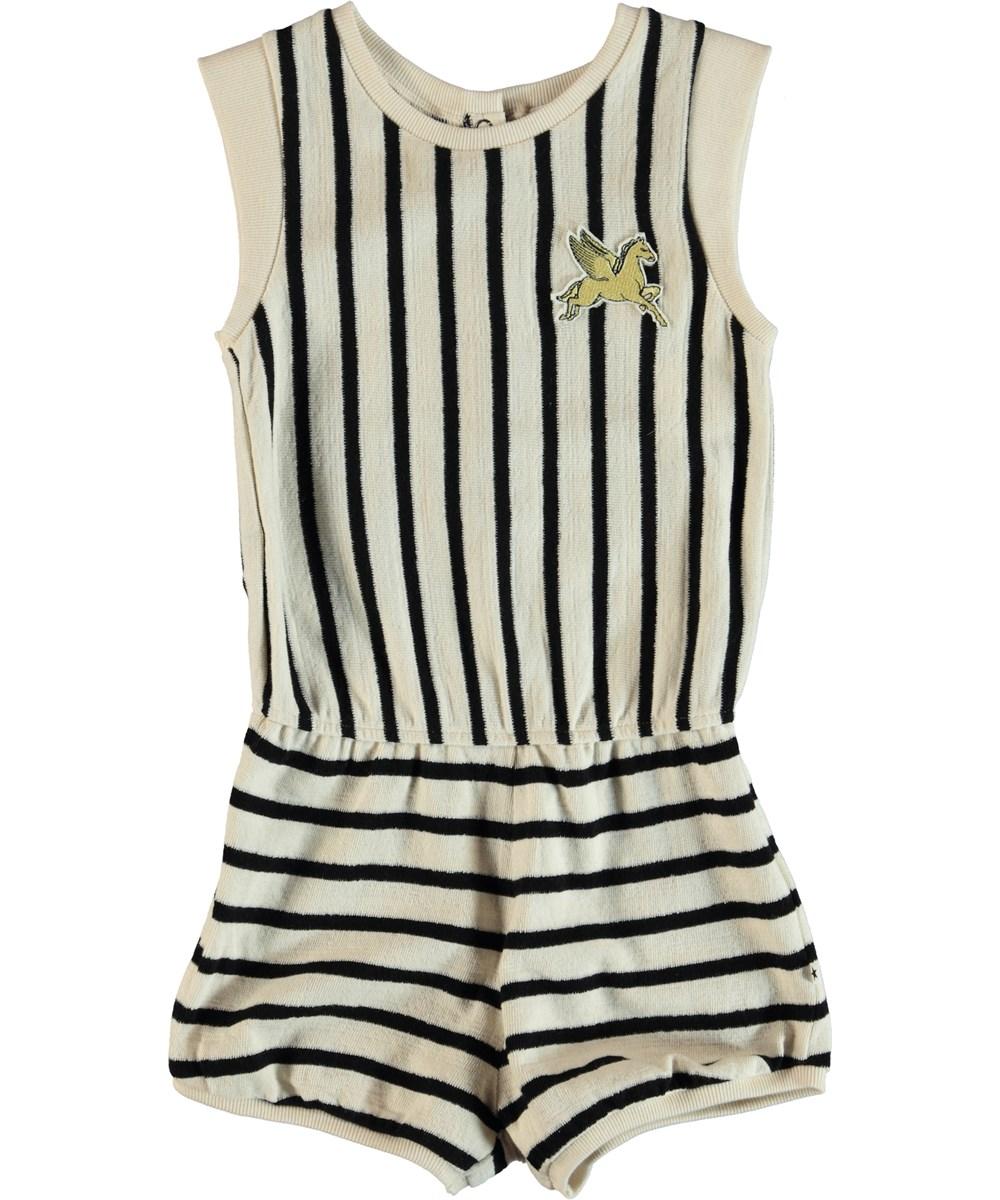 Abigail - Black Cream Stripe - Striped playsuit