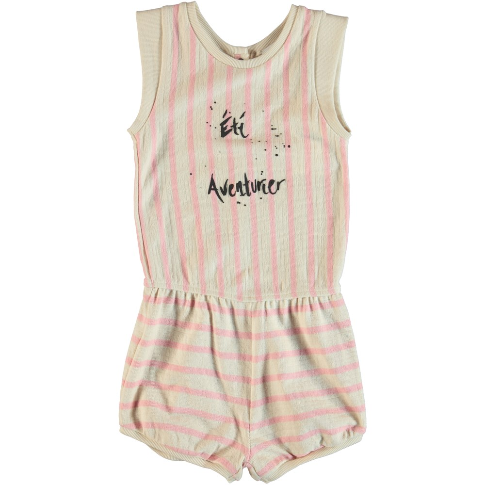 Abigail - Powder Pink - Playsuit with pink stripes.