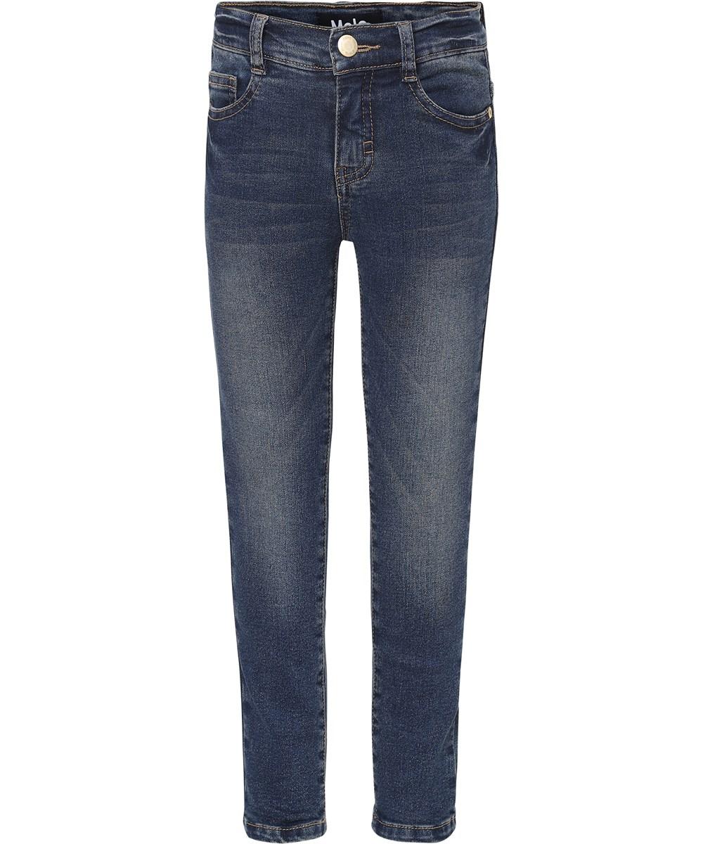 Adele - Grey  Blue Stretch Denim - Dark blue slim fit jeans.