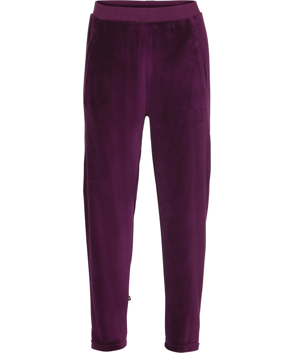 Adelyn - Beet Root - Loose trousers in a beet red velour