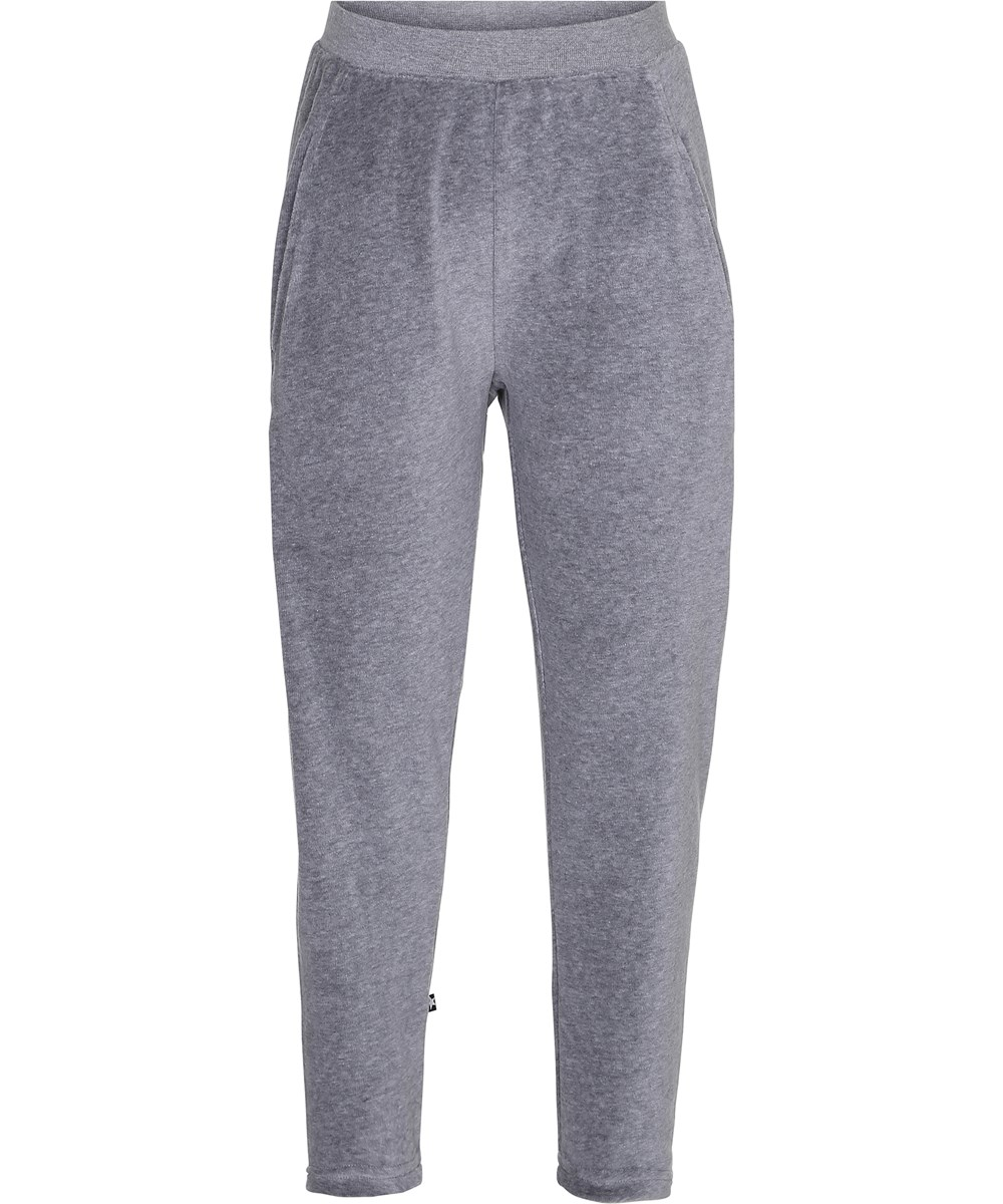 Adelyn - Grey Melange - Loose trousers in grey velour