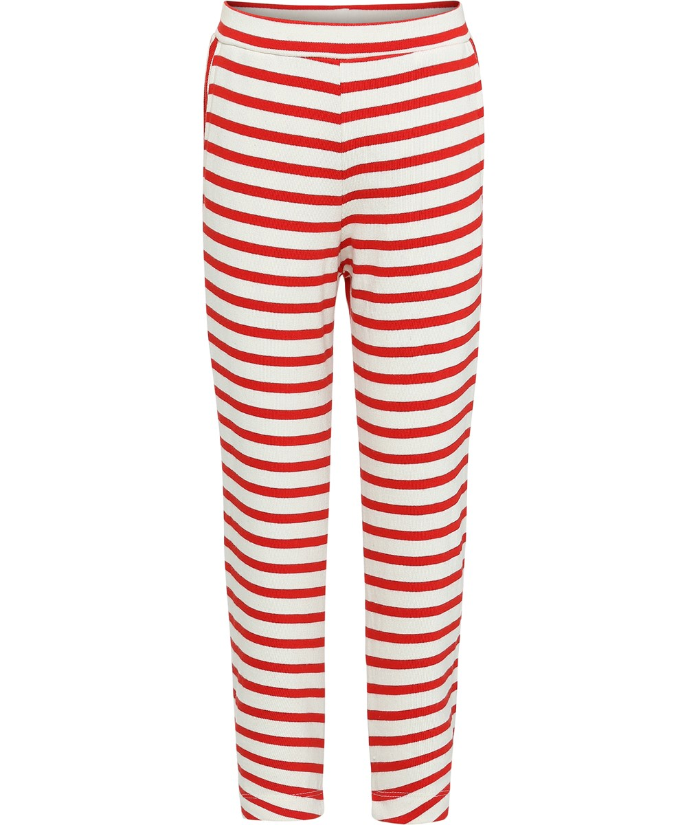 Adelyna - Chili Pearl Stripe - Breton striped leggings.