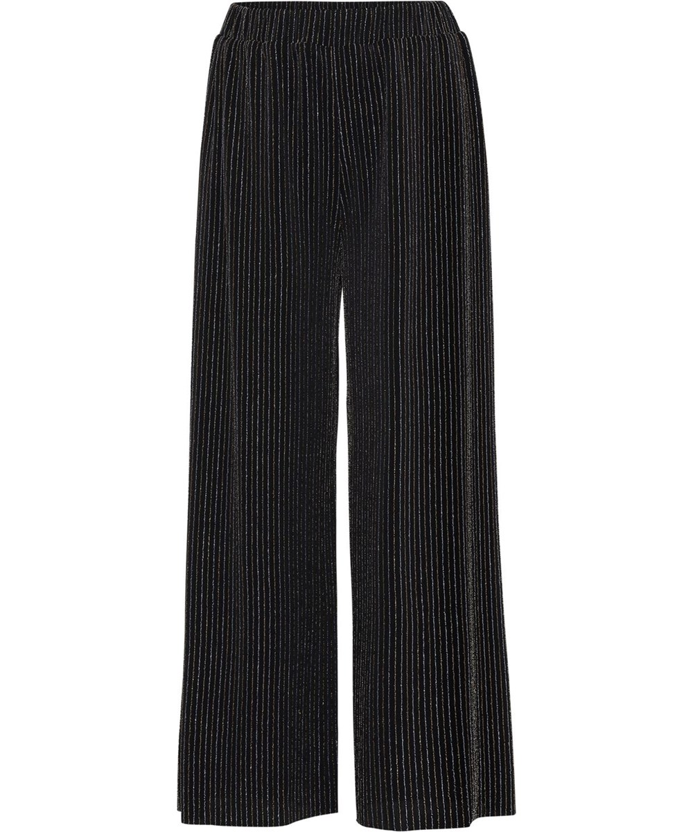 Adoria - Shimmer Stripe - Loose, black trousers with gold stripes
