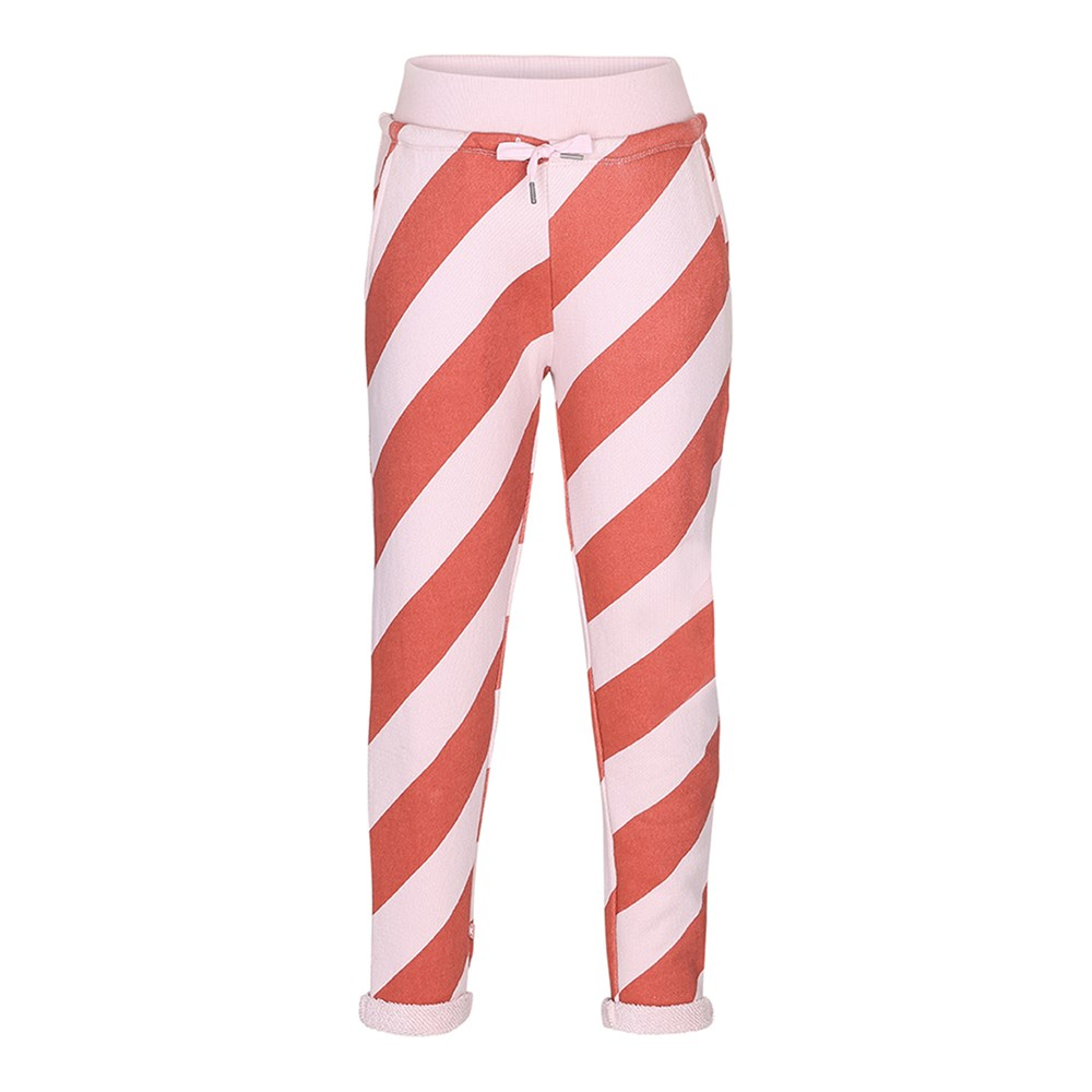 Agnete - Diagonal Stripe - Striped sweatpants in red and pink