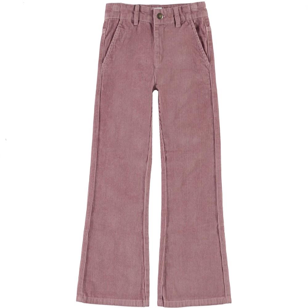 Aida - Rosequartz - Rose corduroy trousers with flare
