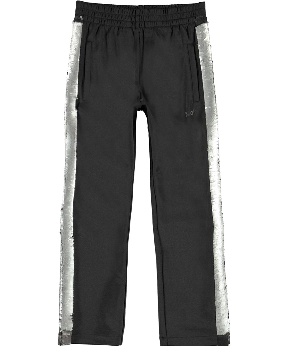 Aimee - Black - Black track pants with sequins