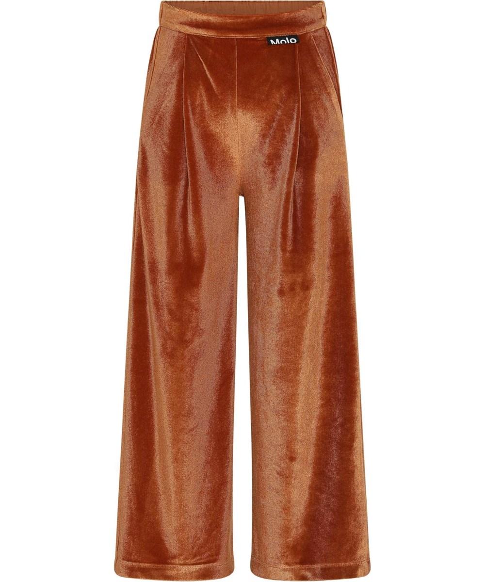 Alfa - Burnt Brick - Loose brown velour trousers