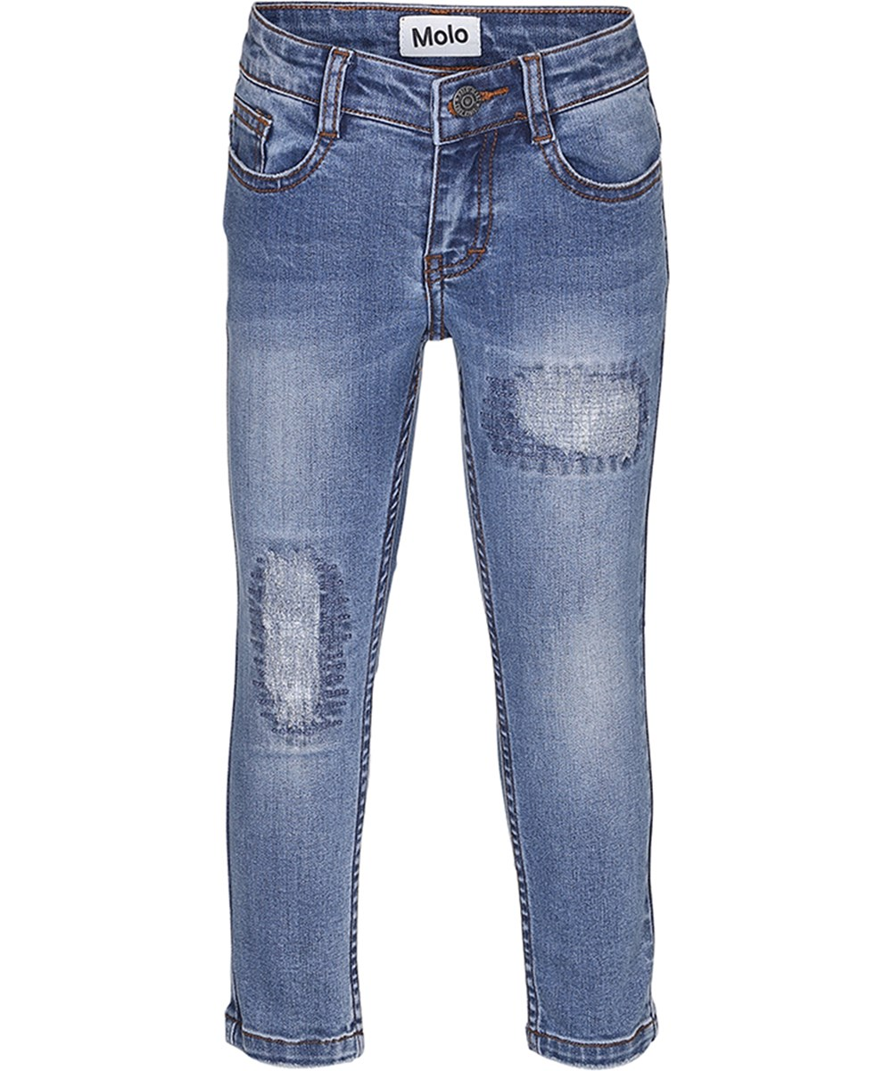 alfa washed and stitched blue cropped slim fit denim jeans molo