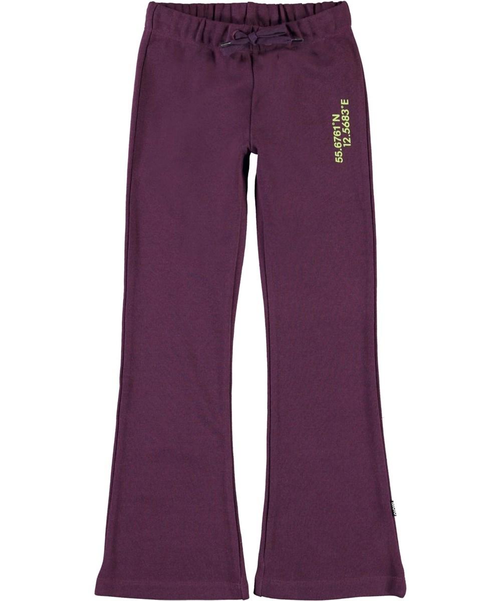 Alfreda - Noirberry - Purple sweatpants with flare