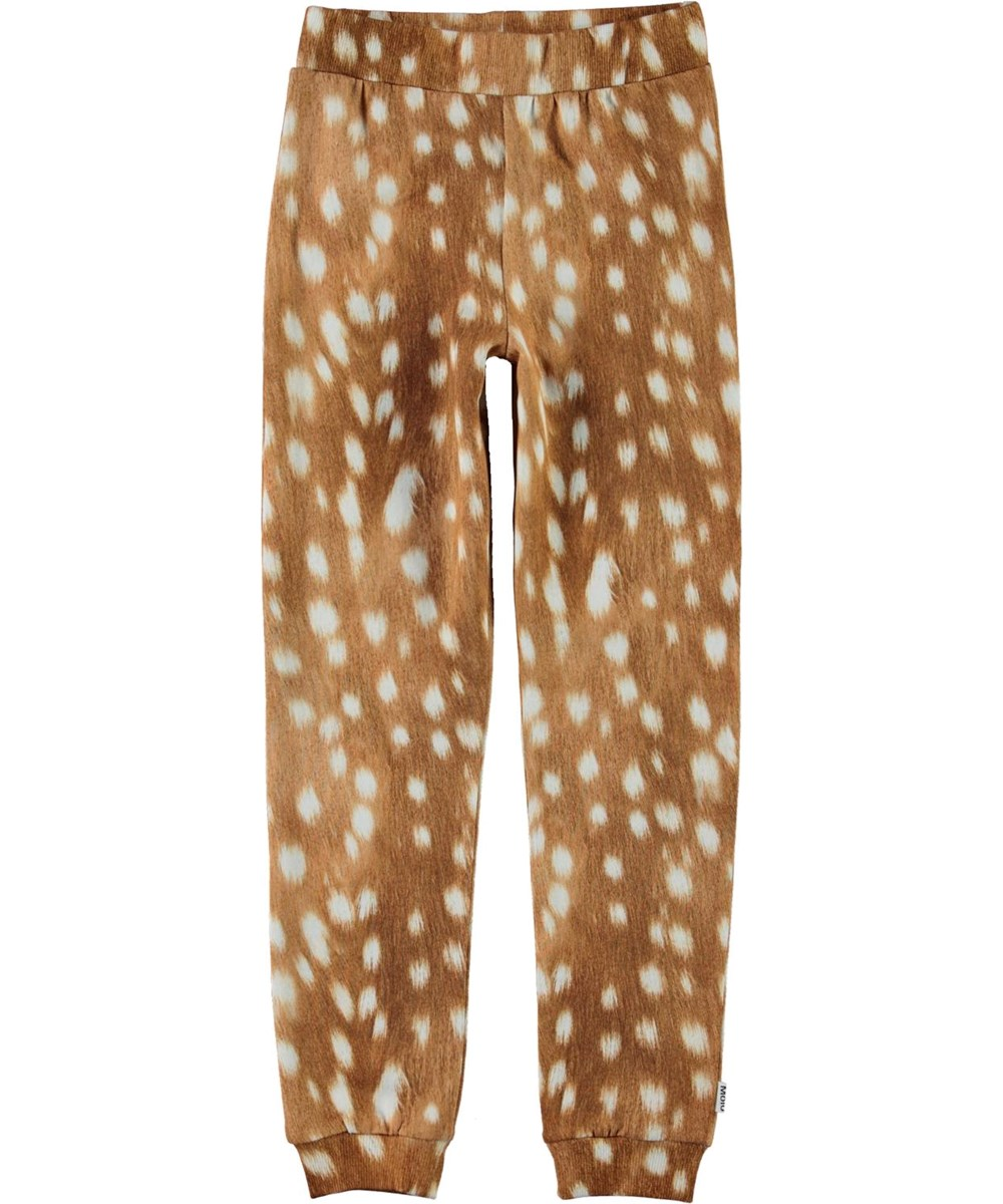 Alfrida - Fawn AOP - Brown organic sweatpants with white spots