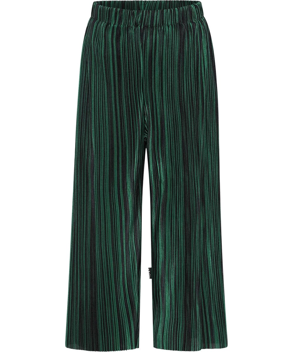 Aliecia - Green Blk Stripe - Green pleated trousers