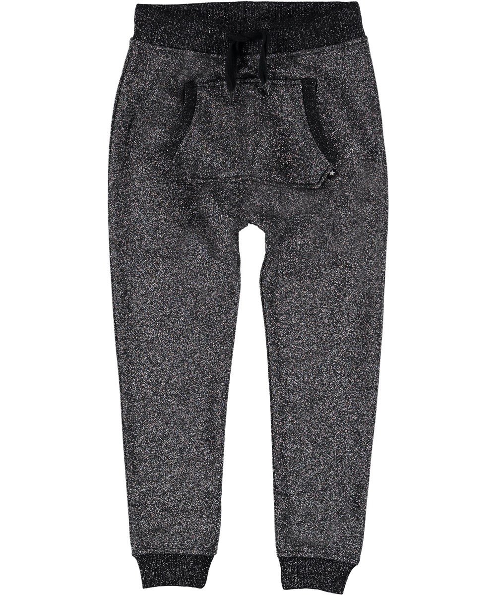 Aliki - Silver Black - Sporty glitter sweatpants.