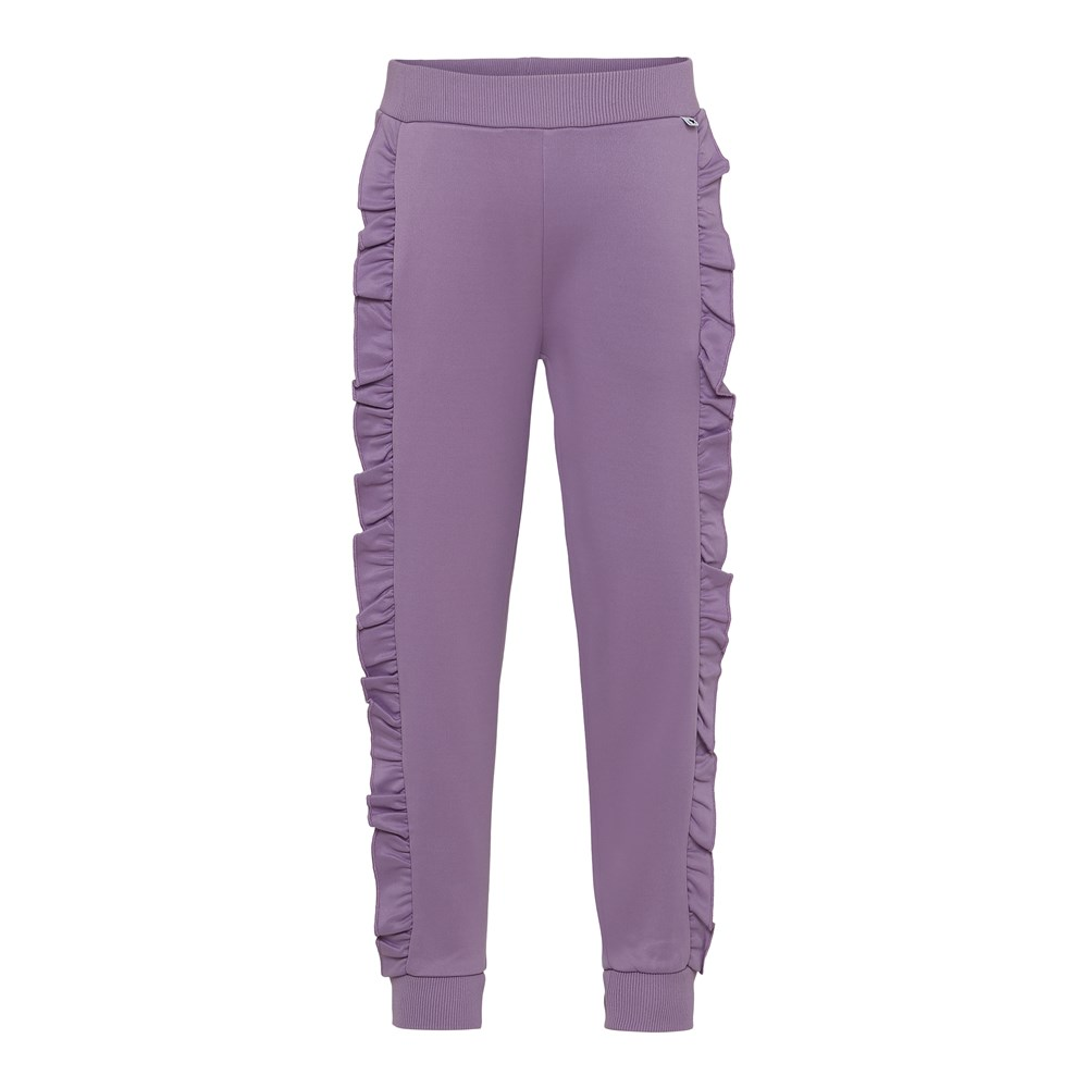 Aline - Alpine Flower - Purple trousers with ruffle edge.