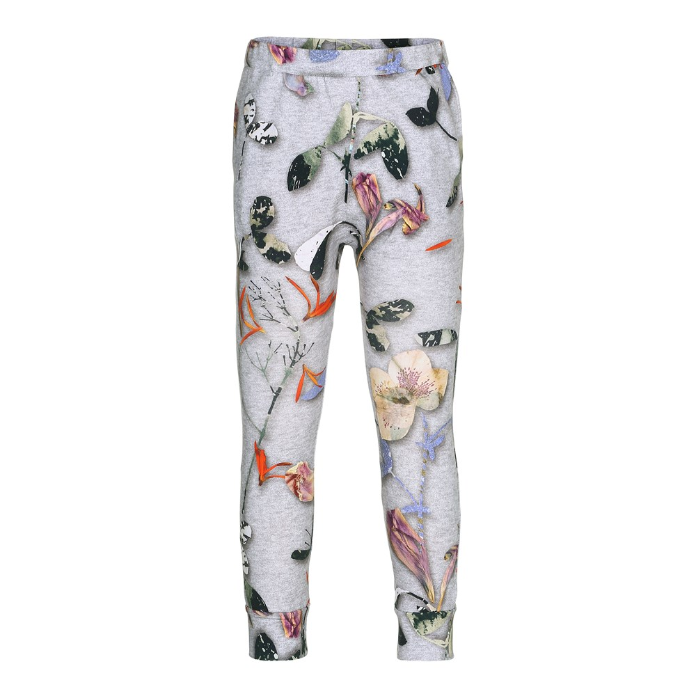 Alvina - Paper Petals  Melange - grey trousers in a sweatpant look with flowers