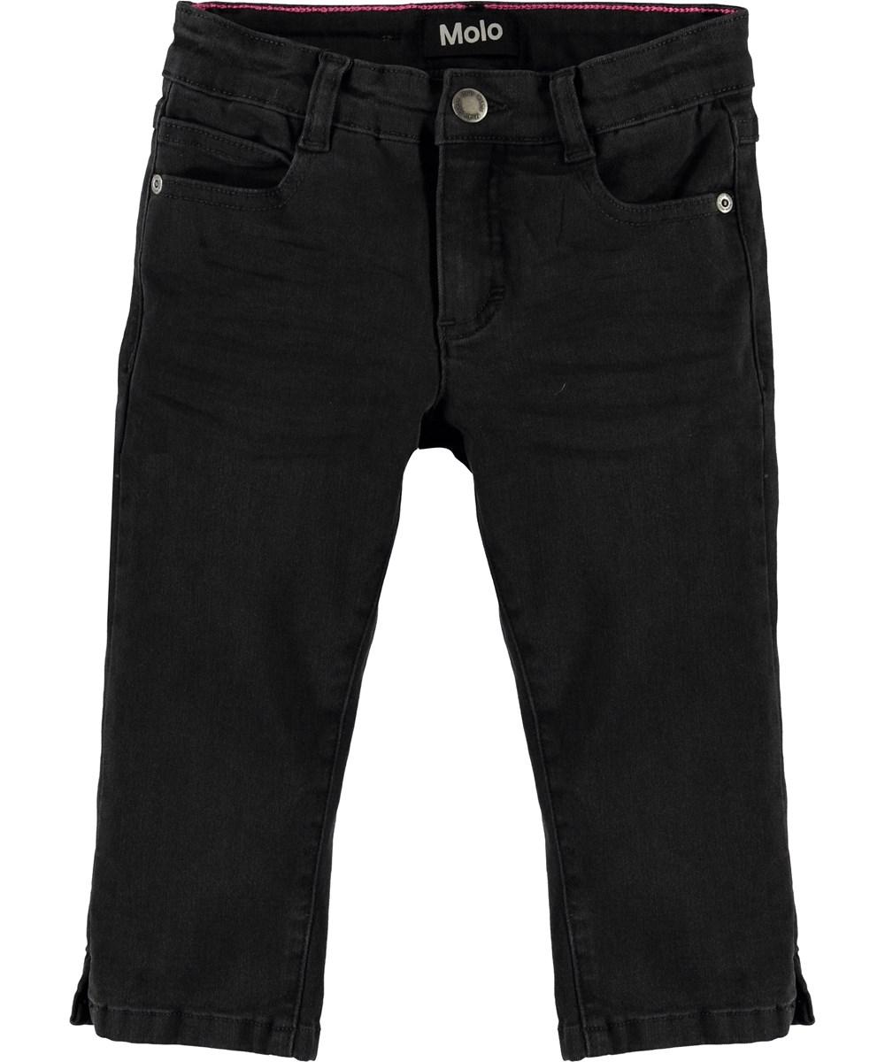 Alvina - Washed Black - Short black denim trousers