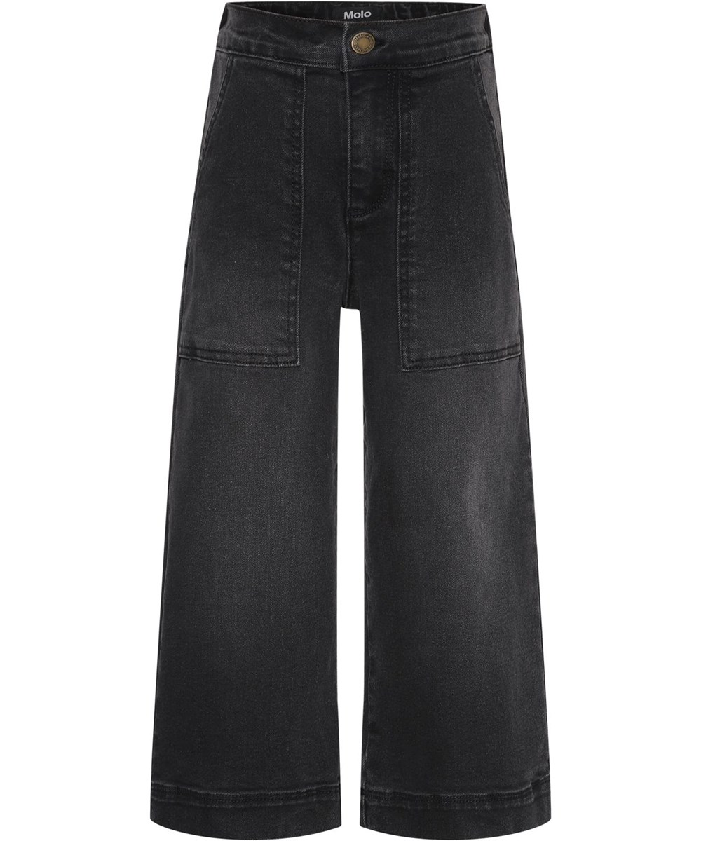 Alyna - Washed Black - Black recycled culotte trousers