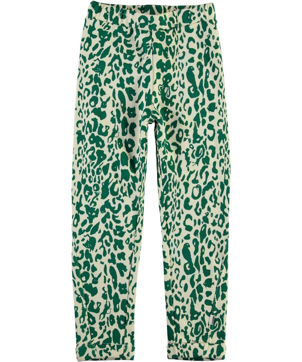 Alysie - Green Leopard - Sweatpants with green leopard print
