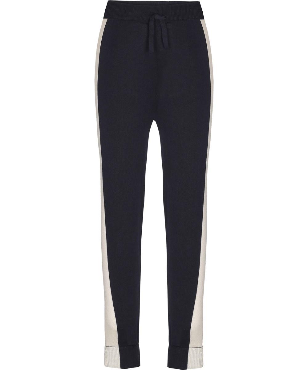 Amalie - Dark Navy - Dark blue and white knit trousers