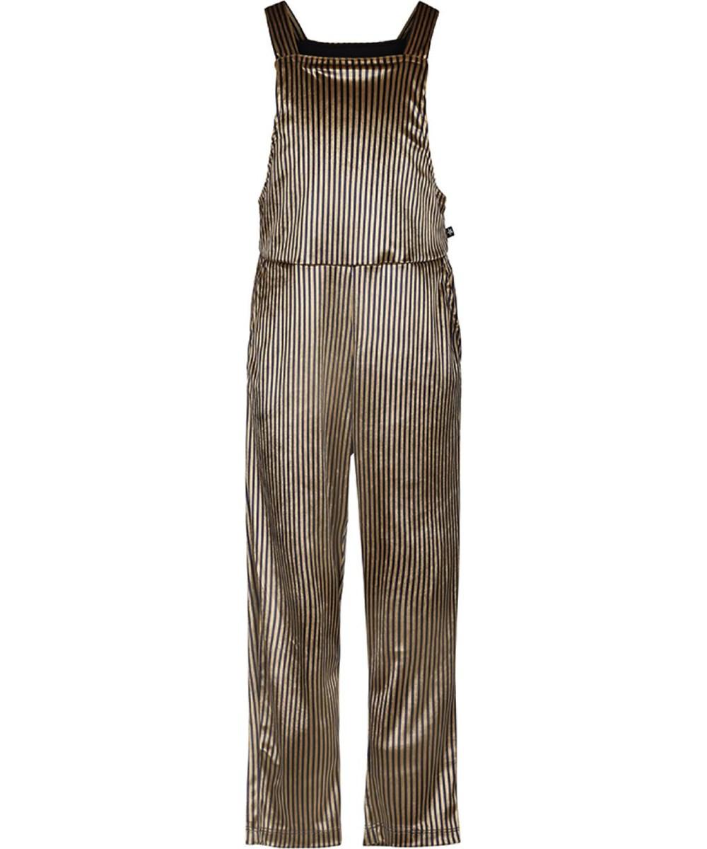 Amber - Hazel - Gold striped jumpsuit in velour