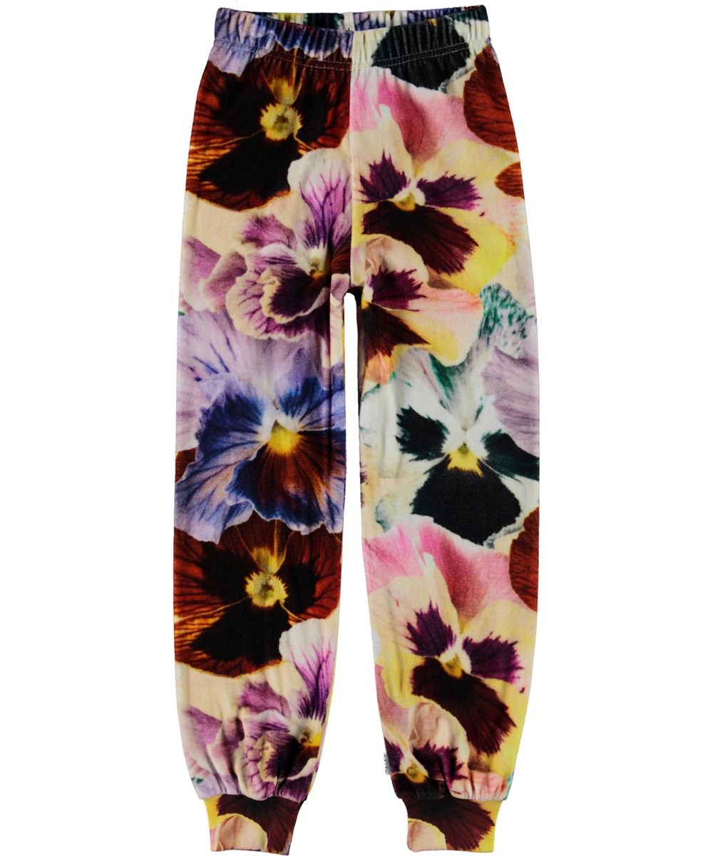 Amina - Floral Velour - Velour sweatpants with flowers