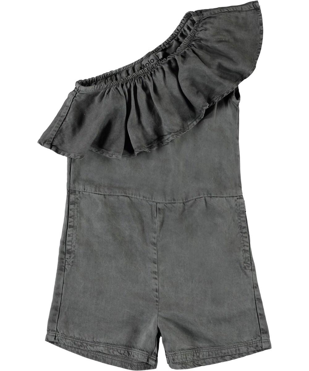 Amira - Grey Pearl - Grey pantsuit with a slanted ruffle edge.