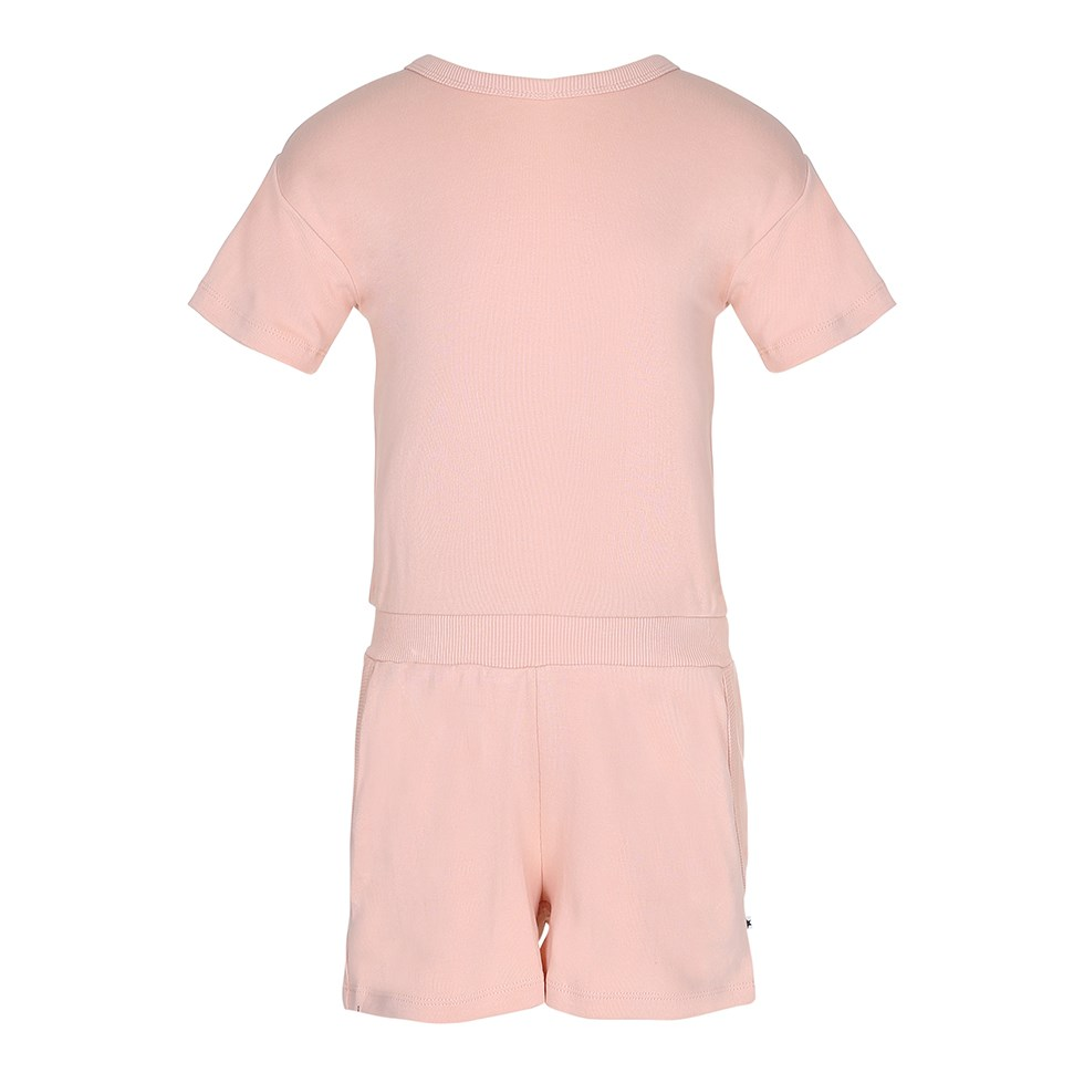 Amira - Pink Sand - Short sleeve peach coloured jersey jumpsuit